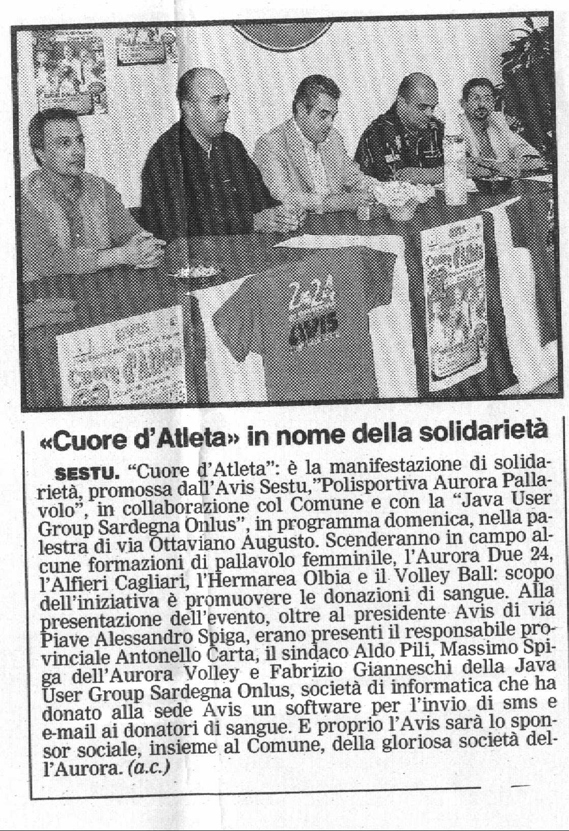 Articolo de La Nuova Sardegna del 4 Ottobre 2005
