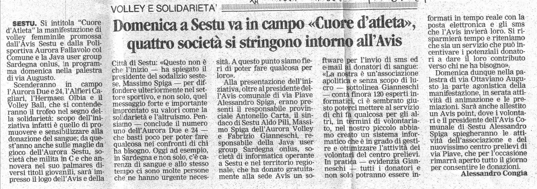 Articolo de La Nuova Sardegna dell'8 Ottobre 2005